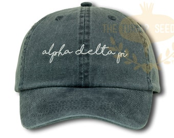 Alpha Delta Pi Handwriting Script Sorority Baseball Cap - Custom Color Hat and Embroidery