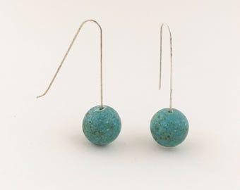 Aqua Stone Bead Earrings, Minimalist Earrings