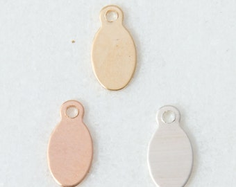 10pcs-Tiny 9mm Oval Stamping Blank, Bulk Stamping Supplies, Oval Tags in Sterling Silver, Gold Filled,Rose Gold Filled,Tiny Oval Tag ,ST42RR