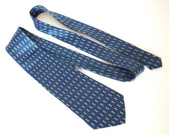"Vintage Blue Tie,Classic Geometric Neats Necktie,Silky Polyester Necktie,63.8"" x 3.6"",Longer Length Business Tie,Mens Ties,Vintage Menswear"