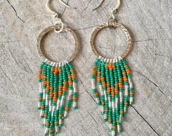 Seed Bead Earrings, Boho Beaded Earrings, Long Fringe Earrings, Native American Inspired Earrings