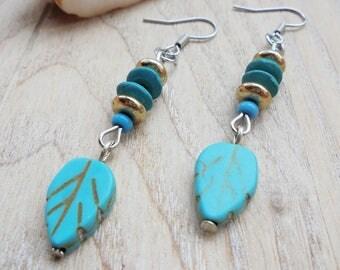 Dainty Turqoise and Gold Leaf Boho Earrings