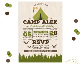 Camping Invitation | Camping Party | Adventure Invitation | Camping Birthday Party | Boy Camping Invitation | Outdoor Party | Boy Scouts