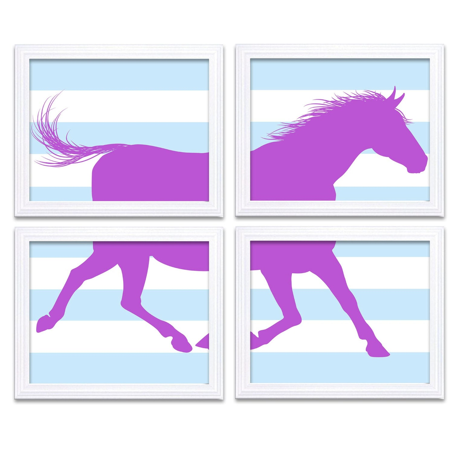 Baby Blue Purple Horse Nursery Art Set of 4 Prints Stripes Child Art Kids Room Wall Decor Baby Pony