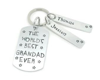 Gift For Grandad, Personalised Grandad Keyring,Worlds Best  Grandad Hand Stamped Personalised Keyring, Personalised Fathers Day
