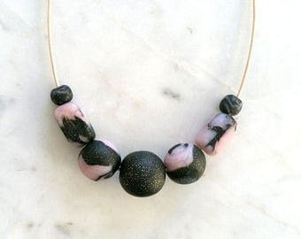 Polymer Clay Necklace - Granite & Rose Quartz, Handmade Polymer Clay Jewellery, Marble style statement necklace, Stylish modern accessory