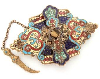 Antique Dagger Buckle Champleve Enamel Russian Belt Buckle, Sword Clasp, Brass Enamel Buckle, Antique Scimitar Buckle Sash Russia Enameled
