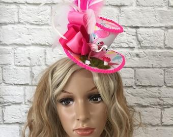 Pink Flamingo Fascinator Mini Top Hat, Alice in Wonderland Mini Top Hat, Mad Hatter Mini Top Hat, Tea Party Mini Top Hat