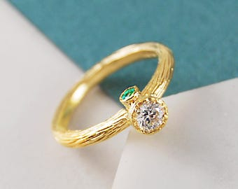 Gold Ring, Diamond Ring, Topaz Ring, Emerald Ring, Gemstone Ring, Textured Ring, Rustic Ring, Unique Ring, Engagement Ring, Solitaire Ring