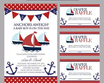 Naitical invitaion and diapers raffles tickets