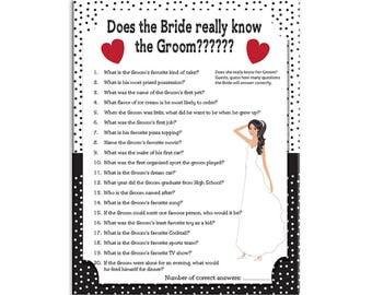 """Bridal Shower Game, """"Does the Bride really know the Groom?"""" Wedding Shower Game, Couples Shower Game, Instant Download"""