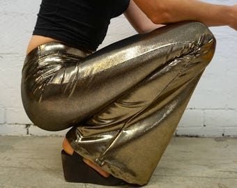 Gold Sparkle Flares Bell Bottoms - Gold Pants - Golden Festival Flares - Flare Pants Authentic Burning Man Outfit