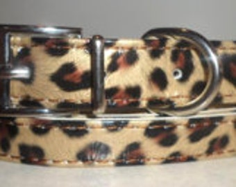 Leopard Print Dog Collar and Leash Set, 16 inch total length!