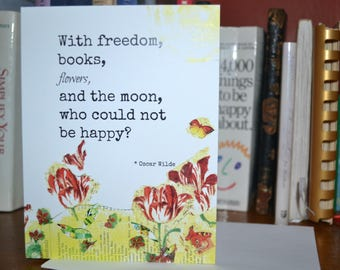 Happiness Card. Oscar Wilde quote. Friendship card