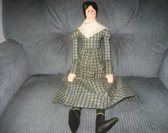 """Handcrafted and handpainted vintage folk art cloth doll - OOAK - 21"""""""