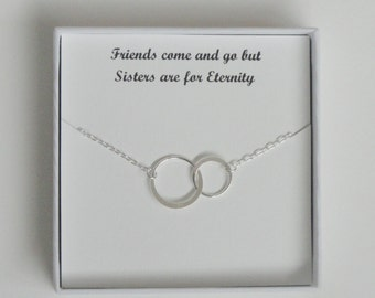 Sister gift, Sterling silver eternity necklace, Eternity circle necklace, Circle necklace, Bridesmaid gift
