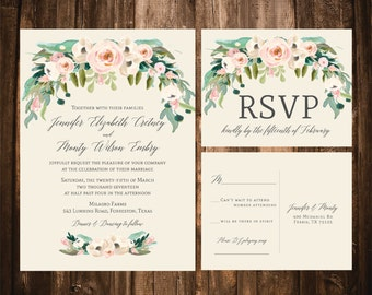 Spring Bohemian Wedding Invitations; Blush, Ivory; Printable OR set of 25