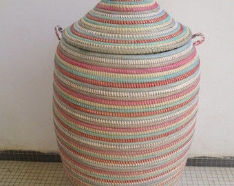 Tiny Home Striped Laundry Basket, Light Colours, Hamper, African, Narrow Spaces Decor, Panier, Maison, Cesto