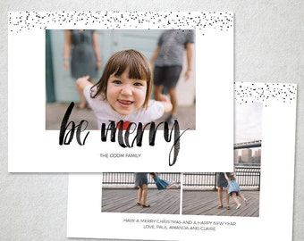 Christmas Card Template, Photoshop Template, Be Merry Watercolor, Happy New Year Template, Instant Download
