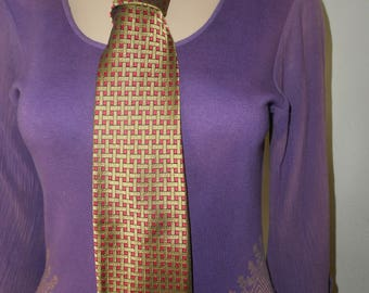 Lilly Dache Red/Olive Green Check MOD Necktie/Rayon-Silk Blend Tie