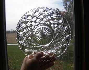 Vintage Imperial Glass Diamond Block Bowl, Vtg Glass Serving Dish, Vtg Glass, Vintage Nappy Bowl, Vtg Imperial Glass