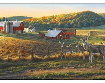 Whitetails Panel by Darrell Bush, Autumn Farm Scene, Deer, Elizabeth's Studios (By Panel)