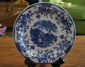 """Transferware Blue & White, Ceramica Quadrifoglio-Made in Italy-Victorian Design-Dinner Plate 10"""""""