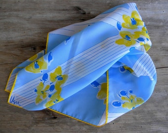 Vintage Floral Vera Square Scarf /  Yellow and Blue Floral Print / Vera Neck Scarf / Yellow and Baby Blue / 21 inch Neck Scarf / Purse Scarf