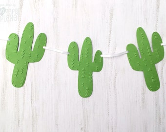 Green Cactus Banner. Embossed Party garland. Wild one, tribal, boho, baby shower, birthday party, wedding, engagment. Photo prop.