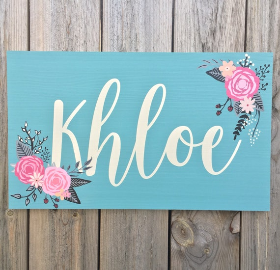 Items Similar To Floral Nursery Sign Floral Name Sign