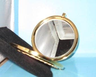 Gold Mirror Compact Rhinestone Vintage Decorative Accessory