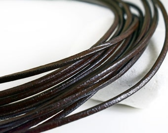 Leather Cord 2.5mm, Brown Greek Leather Round Cord, Necklace Cord, Jewelry Supplies, 1 meter