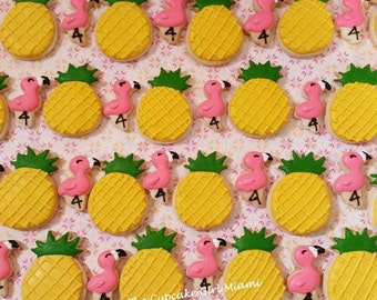 Mini Pineapple & Flamingo sugar Cookies  2 Dozen