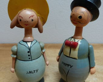 Vintage Japanese 'Salty and Peppy' Figural Boy and Girl Wooden Salt and Pepper Shakers
