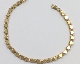VINTAGE 14K Yellow Gold 4mm Heart Bracelet 4.4 Grams!
