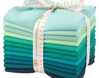 Kaufman Fat Quarter Bundle Kona 12 Piece Cotton Lush Lagoon Fabric~Fast Shipping FQ262