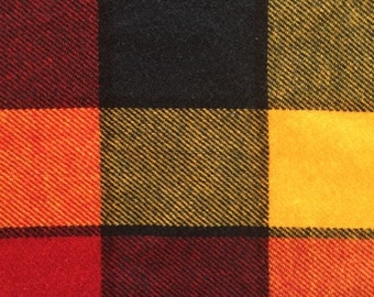 Vintage 70s Loud Plaid Wool Coating Fabric