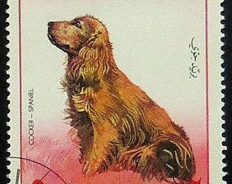 Cocker Spaniel Dog -Handmade Framed Postage Stamp Art 20839AM