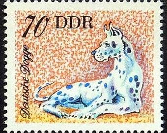 Great Dane dog, Deutsche Dogge -Handmade Framed Postage Stamp Art 21231AM