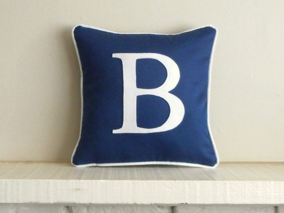 Navy monogram pillow - cover / blue pillow / personalized pillow / navy initial pillow / pillow with letter - wedding gift - personalized
