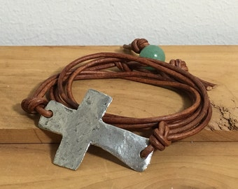 Women's Leather Wrap Bracelet, Cross leather bracelet, Cross wrap bracelet, Womens leather bracelet, Boho bracelet, Gift for her, Item PL285