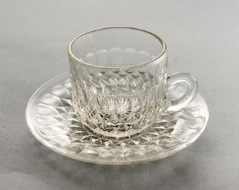 Vintage Pressed Glass Tea Cup and Saucer