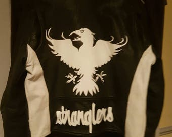 Vintage Black and white leather jacket 1980s withStranglers Hand painted raven