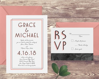 The Coronado Wedding Invitation and RSVP Set, Elegant Wedding Invitations, Formal Wedding Invitation, Coral Wedding Invitation, Art Deco