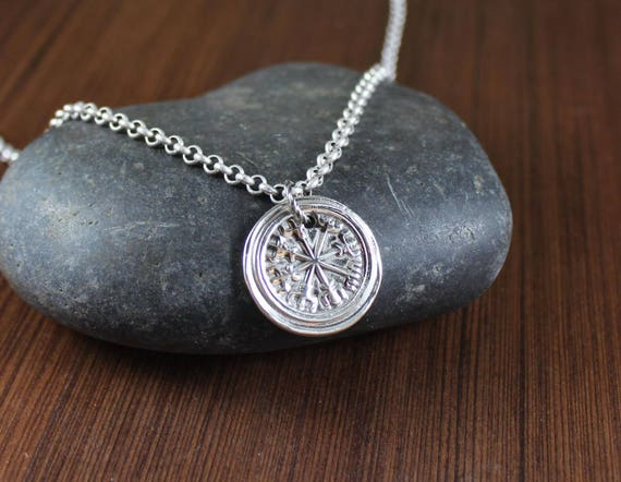 VIKING RUNE ~ VEGVISIR ~ Artisan Handcrafted ~ Norse protection symbol ~ Runic Compass ~ pendant necklace