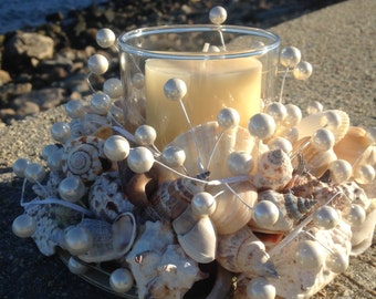 Shell Wreath With Candle - Beach Decor (CW034)