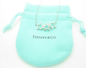 Tiffany & Co. Sterling Silver Triple Star Pendant Necklace 16""