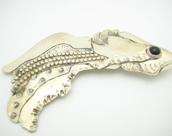Sterling Silver Black Onyx Fish Pin Or Brooch