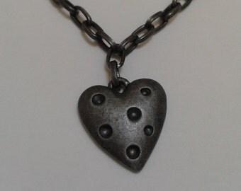 Gunmetal Dark Chain Heart Pendant Necklace BDSM Day Collar