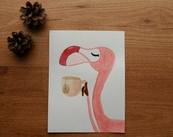 Flamingo drinking tea